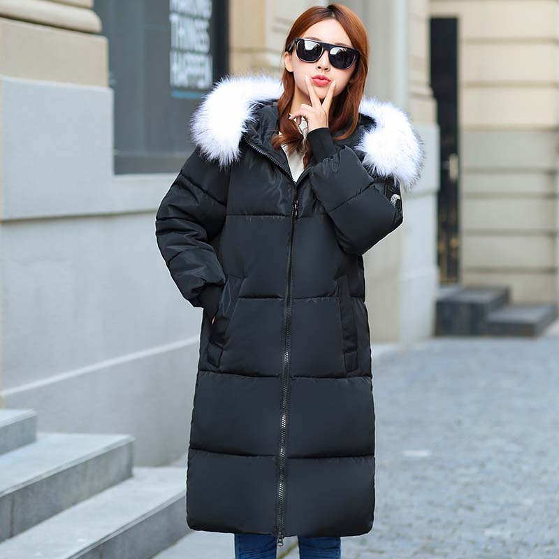 Jacket for Winter Women 2019 Large Fur Collar Cotton-padded Warm Thicken Plus Size 7XL Winter Coat Women   Parka   Outwear Female