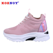 Koznoy Sneakers Women Spring Dropshipping Thick Bottom Daddy Shoes Mesh Thick Bottom Round Toe Breathing Leisure Women Shoes
