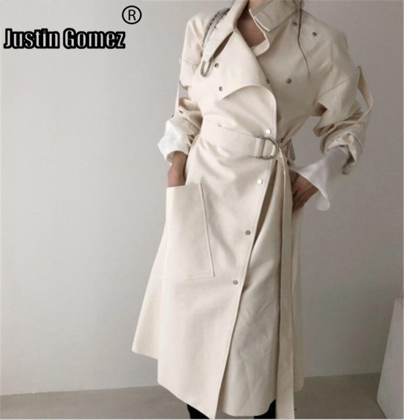 Elegant Oblique Button Trendy Women Coats Long Trench Coat  High Quality Loose Office Ladies Work Wear Outerwear Moda Feminina