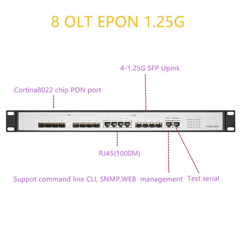 EPON OLT 8 PON Port OLT GEPON 4 SFP 1.25G/10G SC  WEB Support L3 Router/Switch Multimode  Management Open Software  8 PON  Port