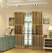 High-end Luxury Atmosphere European Hollow Embroidery Shading Curtains for Living Dining Room Bedroom.