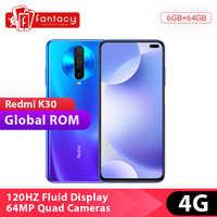 Globale Rom Xiaomi Redmi K30 4G Snapdragon 730G 6GB 64GB Smartphone Octa Core 64MP Quad Kamera 6.67 ''120 HZ Flüssigkeit Display 27W