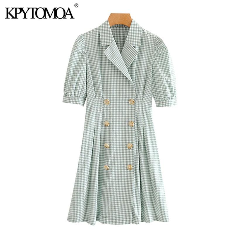 KPYTOMOA Women 2020 Chic Fashion Double Breasted Plaid Mini Dress Vintage Puff Sleeves Office Wear Female Dresses Vestidos Mujer