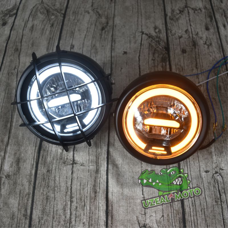 Retro Motorcycle Modification General LED 12V Ultra-bright Headlamp Headlight Full Metal 6.5 Inch With Grill Guard
