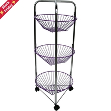 House round greengrocer cart, steel, Chrome and Violet, 75x30x30 cm