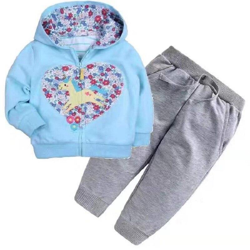 Одежда для маленьких девочек пальто с капюшоном с длинными рукавами и вышитым единорогом+ штаны, г. Весенняя одежда для маленьких мальчиков комплект для малышей, одежда для малышей