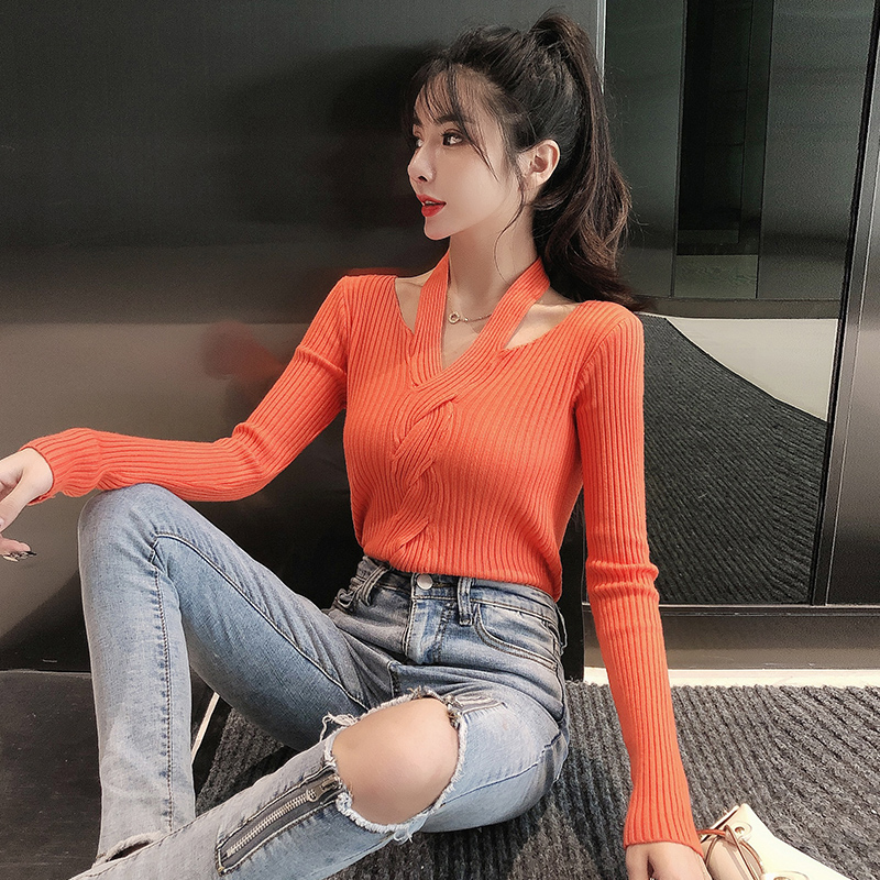 2019 Winter Women Slim Full Sleeve Hollow Out V-Neck Sweaters Pullovers Tops Girls Slim Fashion Sweater Clothing For Female