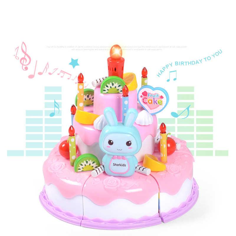 子供キッチンおもちゃ誕生日ケーキふり再生のおもちゃプラスチックミニチュアケーキ光と音楽女の子教育おもちゃ