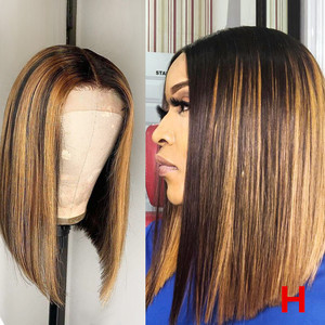 """Beeos 150% 13*6 Deep Part High Ratio Lace Front Human Hair Wig Straight Bob Highlight Pre Plucked Brazilian Remy Hair 8""""-16(China)"""
