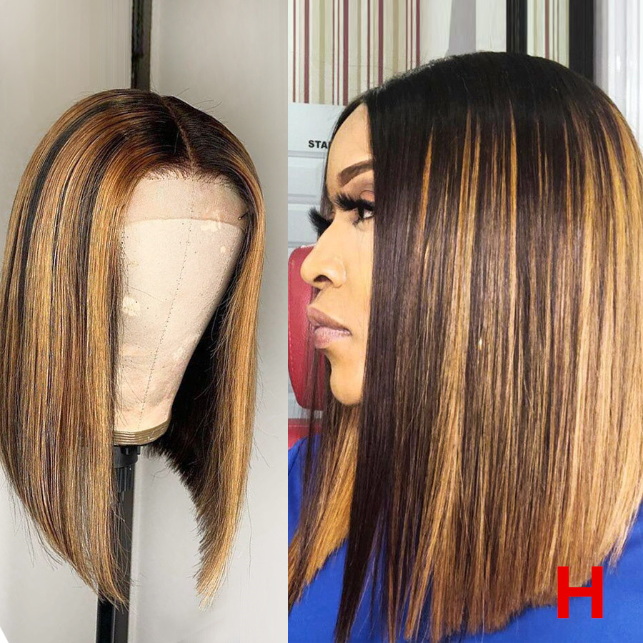 "Beeos 150% 13*6 Deep Part High Ratio Lace Front Human Hair Wig Straight Bob Highlight Pre Plucked Brazilian Remy Hair 8""-16"