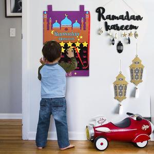 Image 4 - OurWarm Eid Mubarak Countdown Felt DIY Ramadan Calendar for kids with Pocket Castle Calendar Muslim Balram Party Decor Supplies