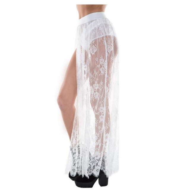 Sexy Side Slit Long Skirt For Festival/Party /Dancing Lace Tulle Mesh Skirs Petticoat 4