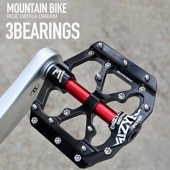 3 pedales planos de bicicleta de rodamiento cromo molibdeno acero eje MTB...