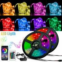 Tiras de luces LED impermeables 5050 2835, lámpara de cinta Flexible para decoración navideña, iluminación con Control infrarrojo por Bluetooth