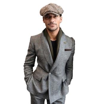2020 Newest Grey One Button Mens Suit Slim Fit 3 Piece Blazer Tuxedo For  Dinner Groom Best Man Business (Jacket+Pants)