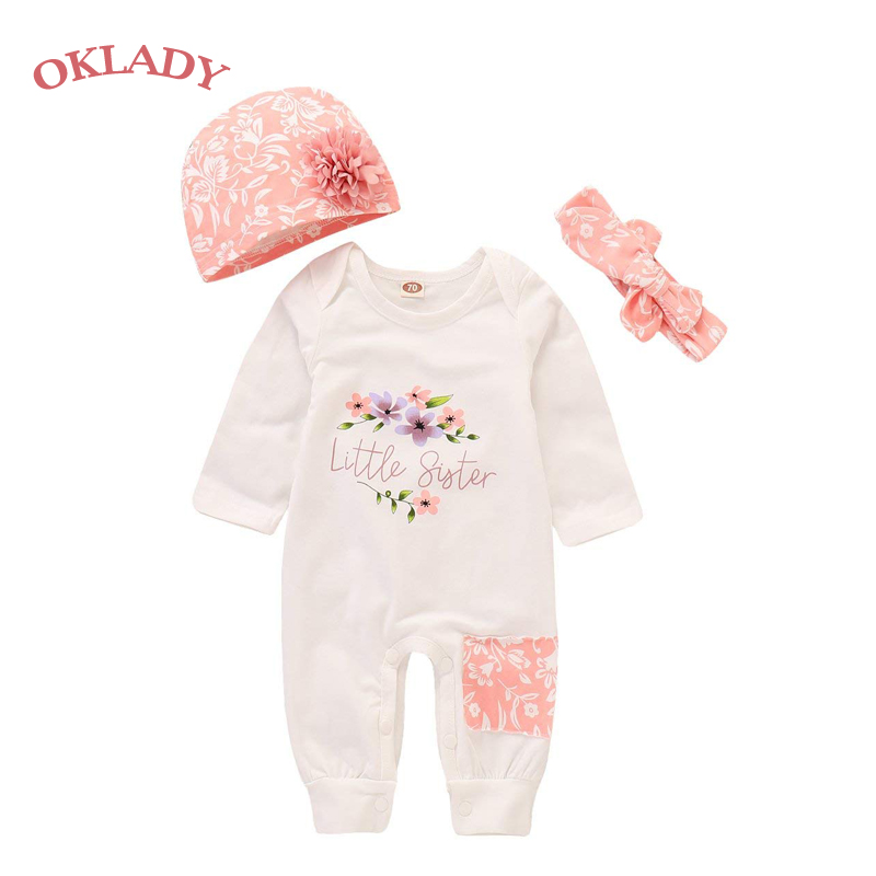 Oklady Baby Girl Clothes Little Sister Newborn Outfit Print Long Sleeve Romper + Hat + Headband Set 3Pc