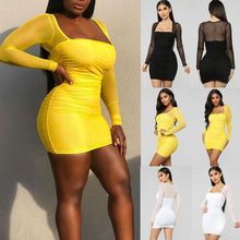Sexy Women Dress See Through Mesh Bandage Bodycon Long Sleeve Clothes Evening Party Clubwear Skinny
