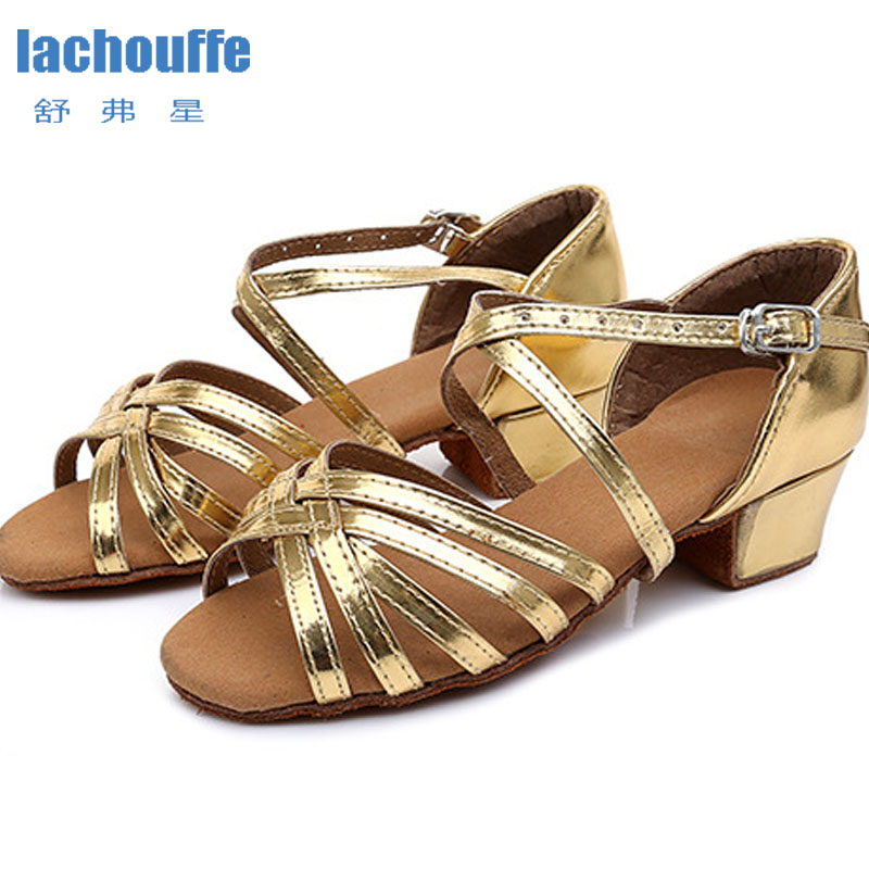 Latin Shoes Square Heel 3.5cm  Dance Shoes Red /gold Soft Outsole Dancing Shoes Woman Girls Latino/Ballroom/Jazz Dance-shoes