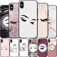 Pestañas maquillaje labio suave silicona TPU negro Funda de teléfono para iPhone 5 5S SE 6 6plus 7 8 plus X XS XR XS Max 11 Pro Max