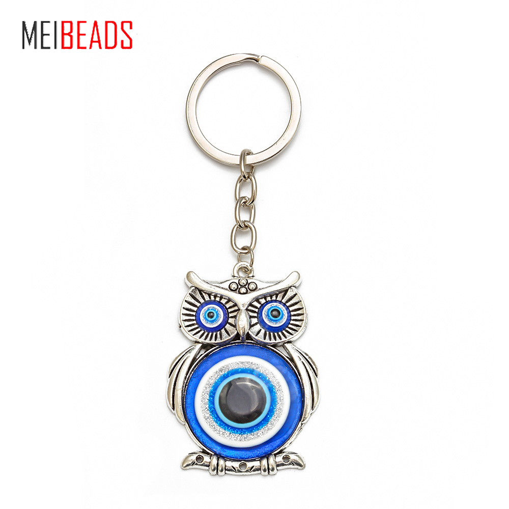 Meibeads 1pcs New Blue Evil Eye Owl Lucky Charm Protection Tassel Hanger Crystals Car Feng Shui Keychain Fashion Jewelry EY10