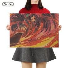 Gravata ler demônio slayer japão anime cartaz de papel kraft cafe bar retro cartaz pintura decorativa arte adesivos de parede decoração da sua casa