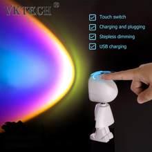Robot LED atmosfer gece lambası dokunmatik kontrol oda duvar dekoru projeksiyon lambası gün batımı gökkuşağı güneş şarj edilebilir cihazı