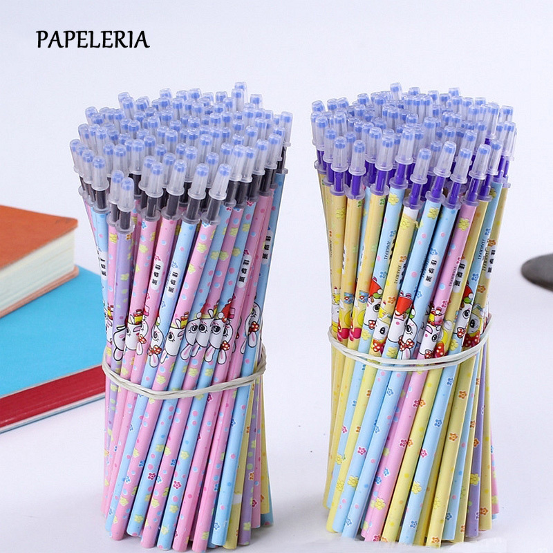 20Pcs/Set Kawaii Rabbit Erasable Pen Refill Rods For Handles 0.5mm Blue/Black Ink Gel Pen Stationery Office School Writing Tools
