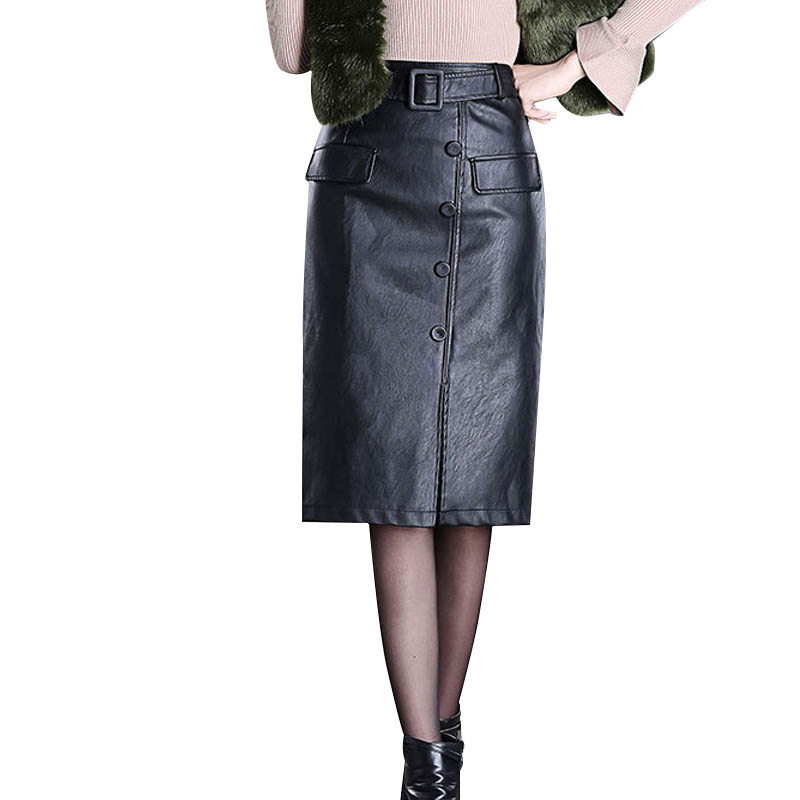 NORMOV Sexy Women Leather Skirt High Waist Solid Color Slim Bag Hip Plus Large Size Skirt Female Button Front Slit Skirt