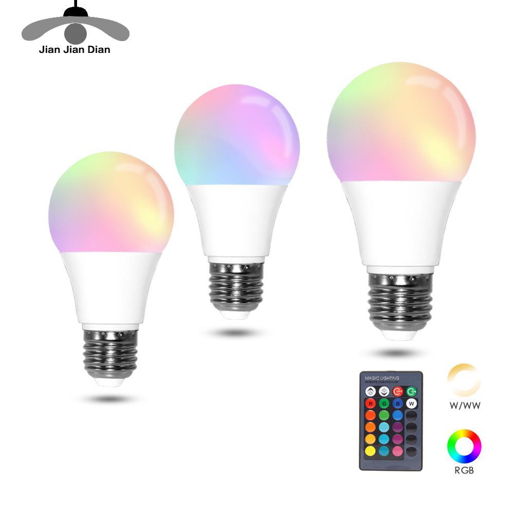 LED RGB Bulb RGBW RGBWW Lamp E27 5W 10W 15W Colourful Lighting 110V 220V 240V Remote Dimmable Night Light Holiday Party Bar KTV