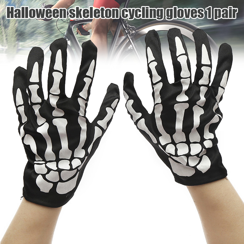 Halloween Horror Skull Claw Bone Skeleton Goth Full Gloves women men winter driving Funny gloves