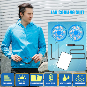 Summer Sun-Proof Outdoor Skin Jacket Sport Clothing USB Cooling Air Conditioning Clothes Fishing Suit Small Fan Fishing Jacket air conditioning cool coat fan clothes summer air cooling jacket thin cotton heatstroke proof construction jacket men clothing