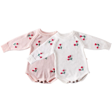 2019 New Fashion Baby Romper 3D Cherry Newborn Baby Clothes For Girls Cotton Knit Sweater Infant Onesie Toddler Jumpsuit цены онлайн