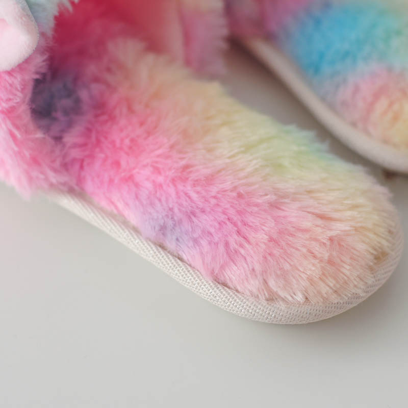 Millffy-cute-colorful-velvet-unicorn-plush-Open-toe-slippers-women-home-indoor-summer-rainbow-unicorn-slippers (1)