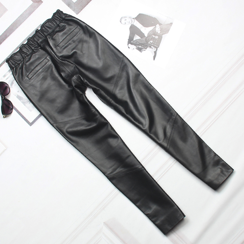 2020 New Real Leather Pants Women Elastic Waist Slim Genuine Lambskin Trousers Female Autumn Lady High Quality Harem Pencil Pant