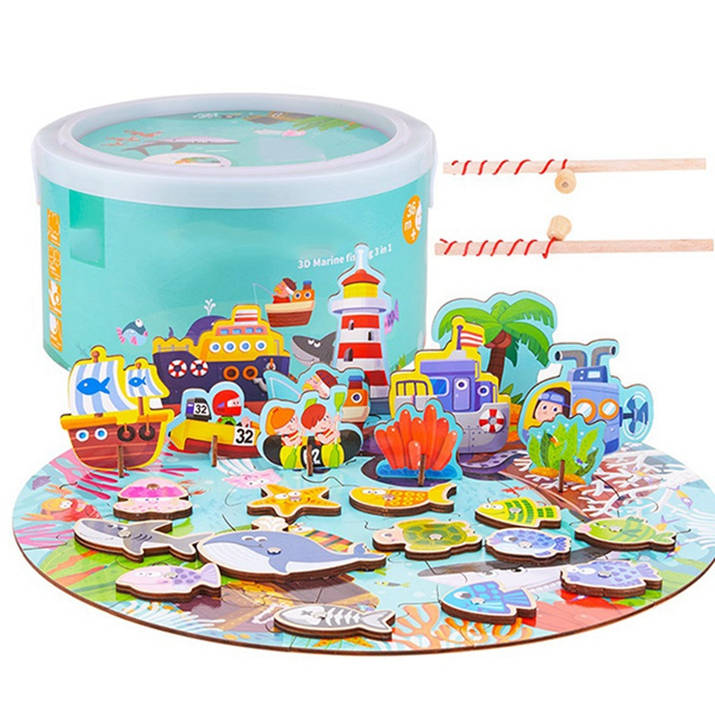 Early Childhood Education Puzzle Magnetic Fishing Puzzle 3 In 1 3D Wooden Toy Set For Young Kids Educational Toys,A