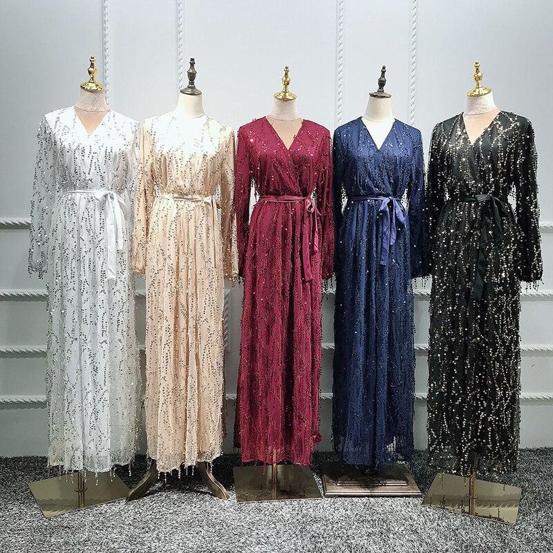 Sequin Abaya Turkey Islamic Arabic Hijab Muslim Dress Caftan Dubai Kaftan Morocco Tesettur Elbise Robe Musulmane Longue Vestidos