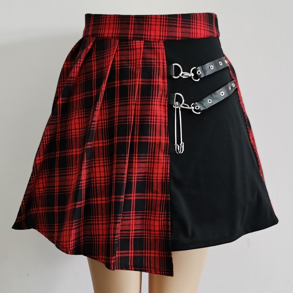 2020 для женщин Асимметричная юбка с завышенной талией, плиссированные мини-юбки со складками; Женская панк-юбка в готическом стиле, Стиль пле...