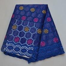 Королевский синий африканский Базен riche brode ткань вышитые
