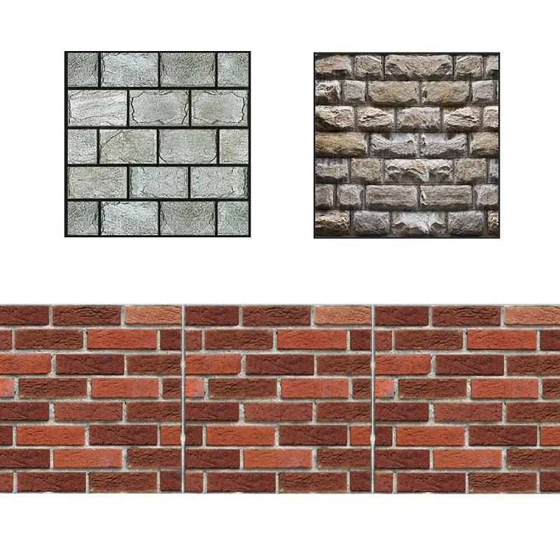 4pcs set removable 3d tile wall sticker pvc fake brick adhesive home decors pattern jcx9308