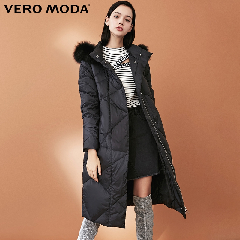 Vero Moda Women's New 90% White Duck Down Fox Fur Collar Long Down Jacket Parka Coat  318312501