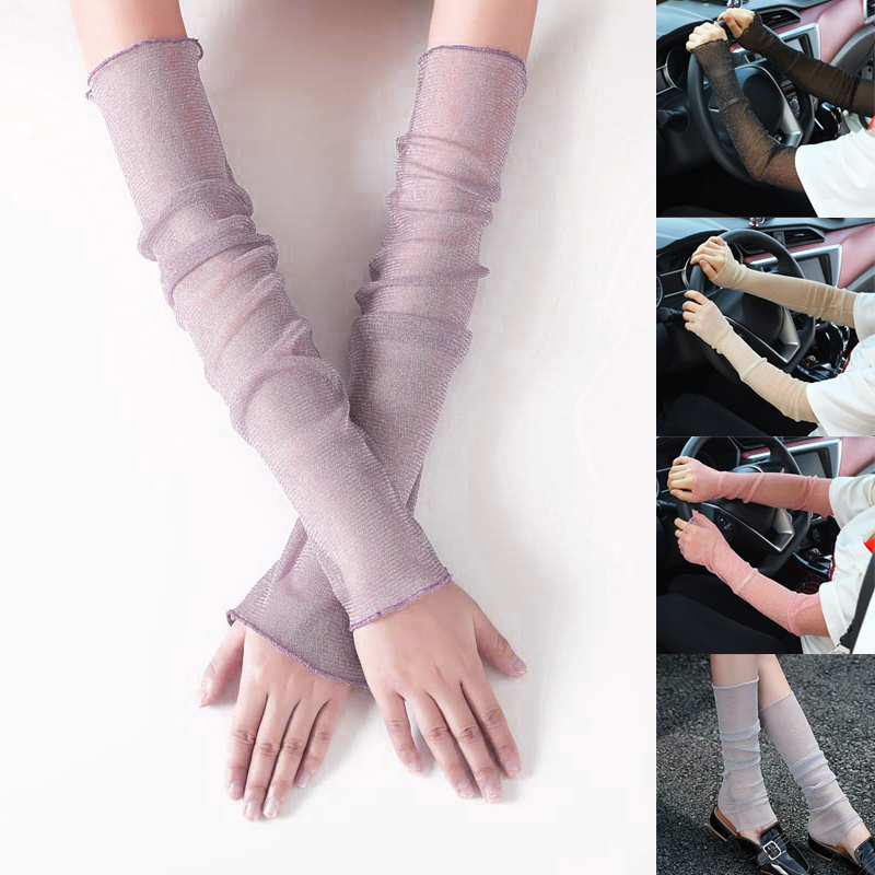 Women Fingerless Long Gloves Sun UV Protection Hand Protector Cover Arm Sleeves Ice Silk Sunscreen Sleeves Outdoor Arm Warmer