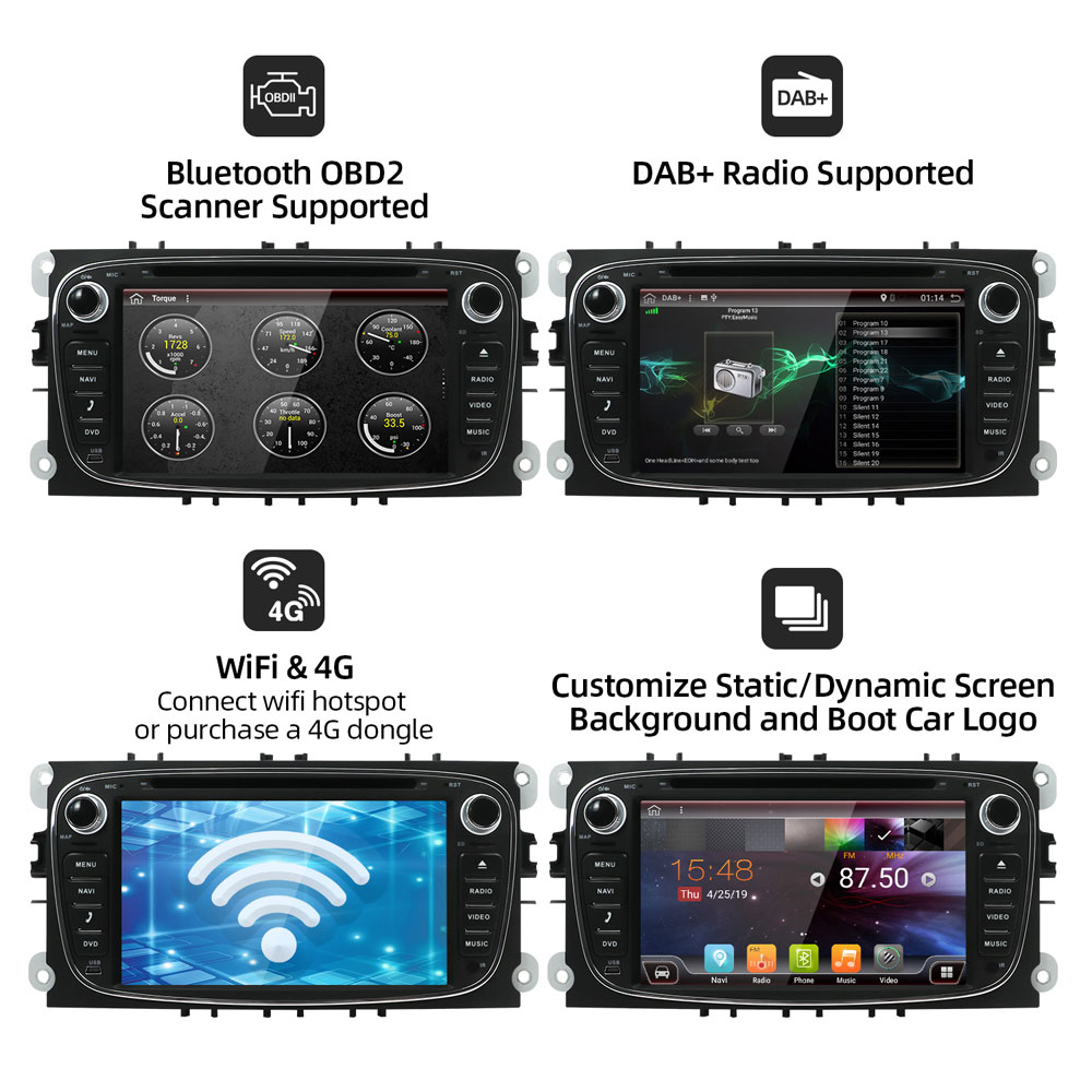 Bosion Android 10 GPS Auto Radios 2 Din Auto Multimedia player 7'' Audio DVD Player Für Ford/Focus/ s-Max/Mondeo 9/GalaxyC-Max DSP