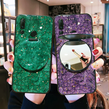 Luxury Glitter Marble Makeup Mirror Cases For Huawei Y9Prime2019 Y5 Y7 Y8 Y9 Prime2018 Y6P Y5P Y8P Y9S HonorV20 V30 Y6 2019 Case image