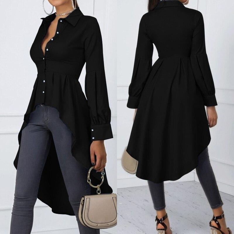 Fashion Asymmetrical Tops Women's Spring Shirts ZANZEA 2021 Casual Lantern Sleeve Shirt Female Button Lapel Blusas Plus Size 5XL
