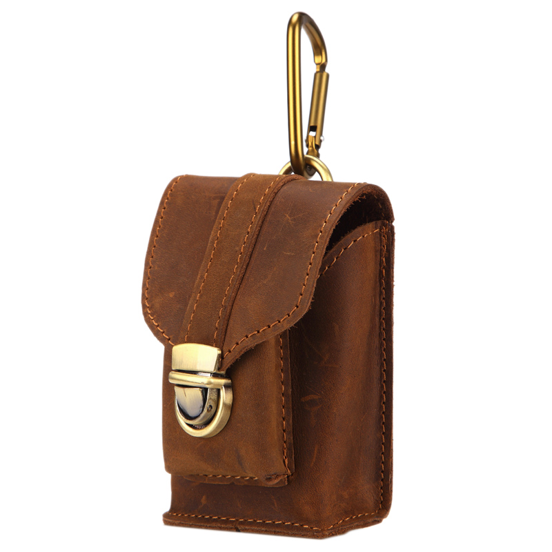 MISFITS Men'S Small Pocket Leather Retro With Belt Buckle Leather Bag Wallet Cigarette Box