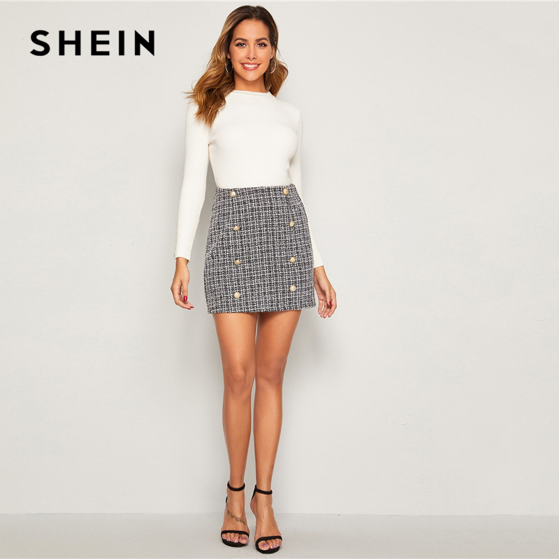Image 5 - SHEIN Black and White Double Breasted Tweed Skirts Womens Autumn Winter Mid Waist Elegant A Line Ladies Sheath Mini Plaid Skirt-in Skirts from Women's Clothing