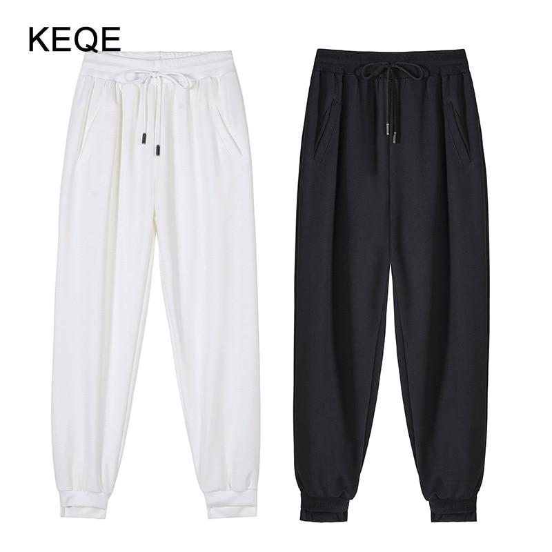 Women's Harem Pants Women Spring/Summer Sweatpants Female Joggers High Waist Pants White Trousers Stretchy Wide Leg Pants BW047