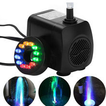 15W Ultra Quiet Submersible Water Fountain Filter Fish Pond Aquarium Water Pump Tank Fountain With Waterproof 12 LED Lights
