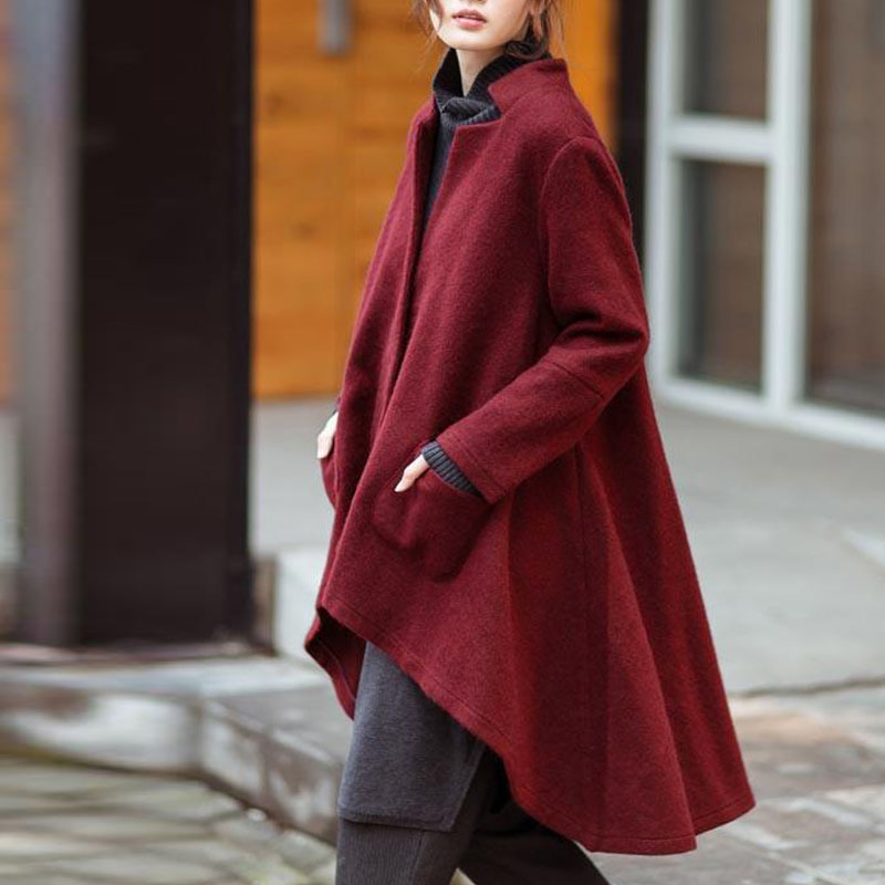 Image 3 - Versear Women Autumn Outerwear Casual Solid Notched Collar Pockets Long Sleeve Irregular Coat Fashion Poncho Coat Plus Size 5XL-in Wool & Blends from Women's Clothing