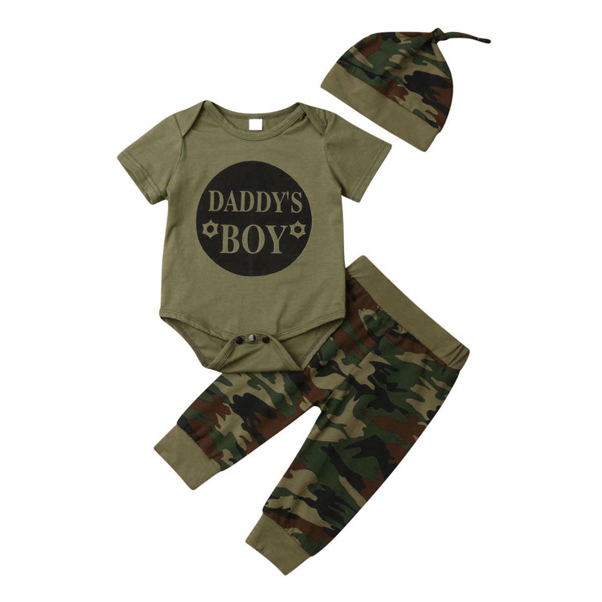 DADDY´S BOY GIRL Clothes Set Camo Newborn Baby Boy Girl T-shirt Tops Camouflage Pants Hat 3pcs Outfits Christmas Clothes 0-24M